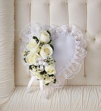 White Satin Heart Casket Pillow