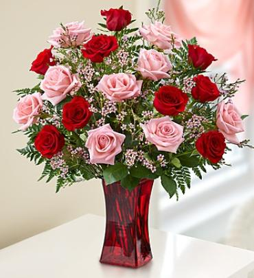 Shades of Pink and Red 24, 18 or 12 stems