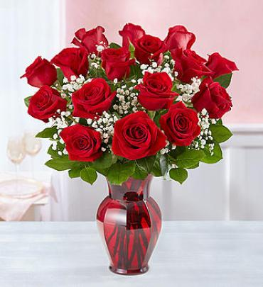 Blooming Love Premium Red Roses in Red Vase