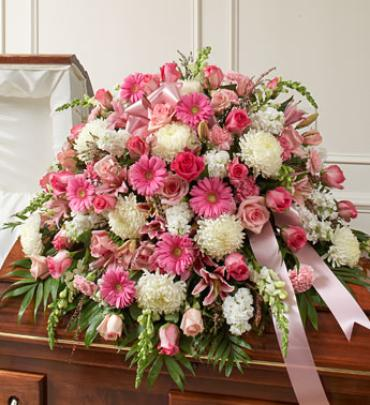 Pink and White Mixed Half Casket Cover