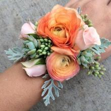 Peach Ranunculus and Succulents Corsage