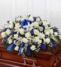 Blue & White Half Casket Cover