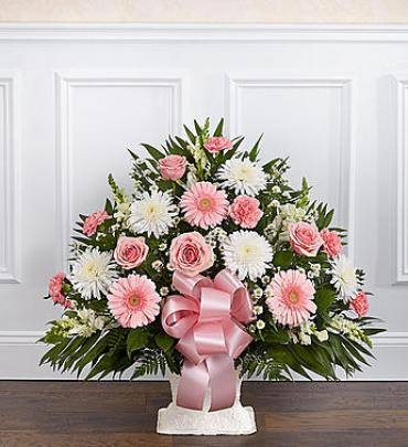 Heartfelt Tribute Floor Basket Arrangement - Pink & White