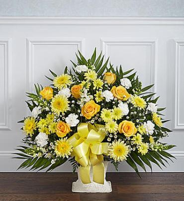 Heartfelt Tribute Floor Basket Arrangement - Yellow