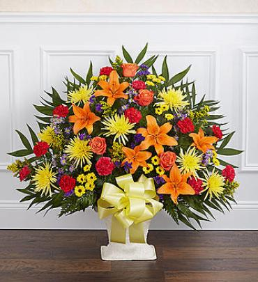 Heartfelt Tribute Floor Basket Arrangement - Bright
