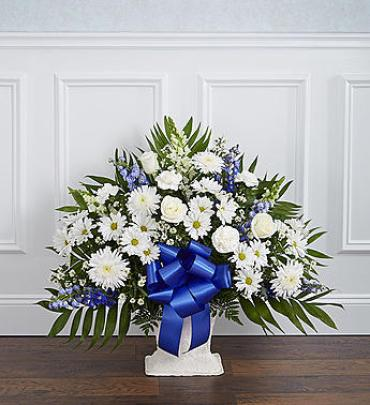 Heartfelt Tribute Floor Basket Arrangement - Blue & White