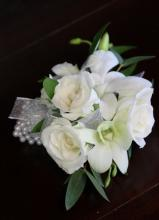 White Orchid and Rose Pearl Wristle Corsage