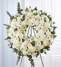 Serene Blessings Standing Wreath - White
