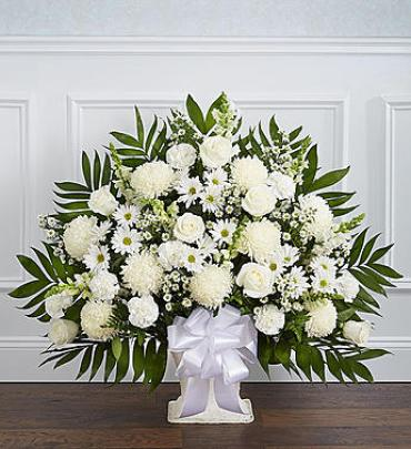 Heartfelt Tribute Floor Basket Arrangement - White