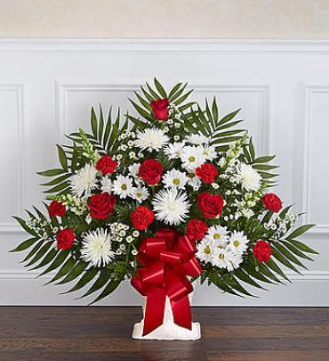Heartfelt Tribute Floor Basket Arrangement - Red & White