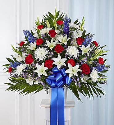 Heartfelt Sympathies Red, White & Blue Standing Basket
