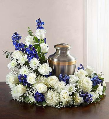 Cremation Wreath - Blue & White